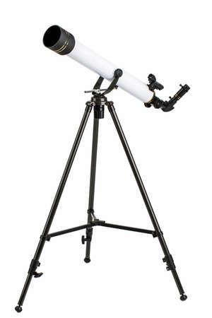 white telescope on tripod isolated on white background