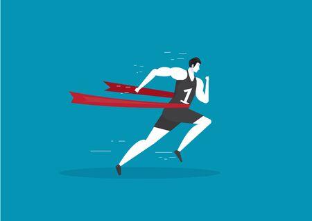 Runner winning a race marathon. Running sport vector. 스톡 콘텐츠 - 131769580