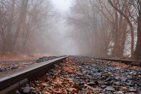Train tracks disappear into the fog