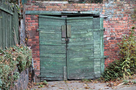 Vintage Wooden Garage Doors Green Old Timber Garage Gate On Stock