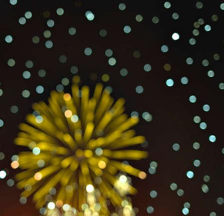Light blur and defocus bookeh circles on black sky background Archivio Fotografico