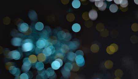 Light blur and defocus bokeh circles on black sky background Standard-Bild