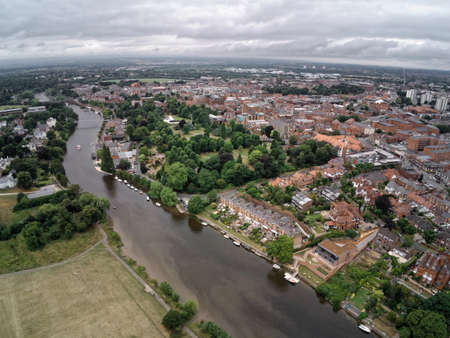 Aerial view on Chester, Grosvenor Park and river Dee Standard-Bild