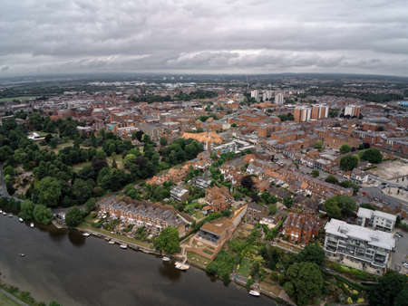 Aerial view on terraced housing in old town Chester by river Dee