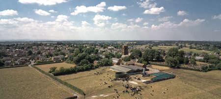 Aerial view on Tarvin, cow farm Archivio Fotografico