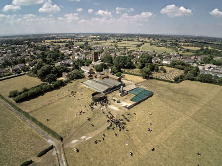 Aerial view on Tarvin, cow farm and dry weather