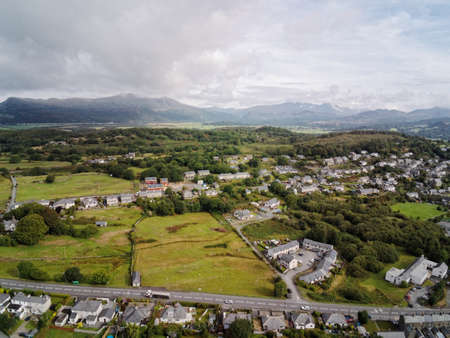 Aerial view, Drone panorama of Penrhyndeudraeth town in Snowdonia mountains in North Wales