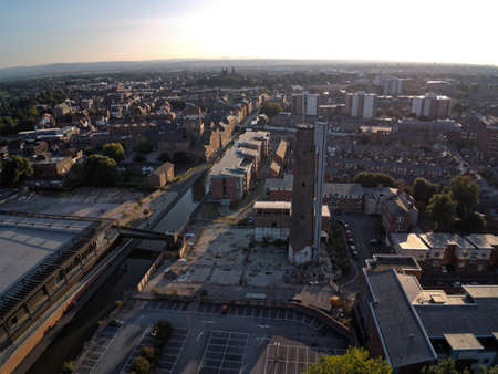 Aerial view, drone panorama of Chester city during sunset, old shot tower and steam mill area