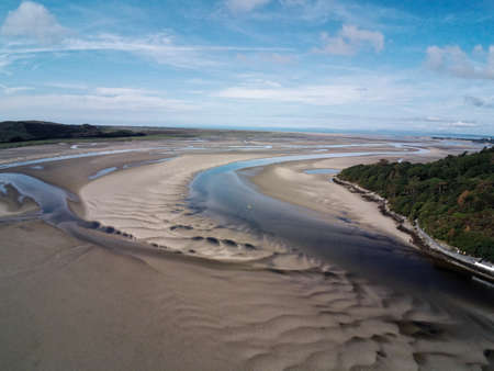 Aerial view, Drone panorama of cape in Portmeirion, Snowdonia mountains in Wales Standard-Bild