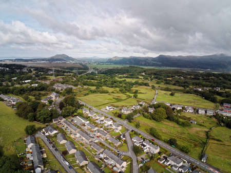 Aerial view, Drone panorama of Penrhyndeudraeth town in Snowdonia mountains in Wales