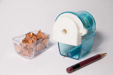 peels: Pencil sharpener with pencil and pencil peels Stock Photo