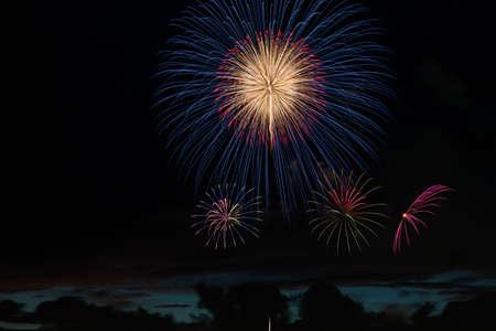glow pyrotechnics: Fireworks display Stock Photo