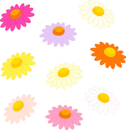 Margaret flower icon set in