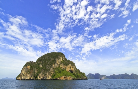 Blue Sky And Green Island in Thai Ocean