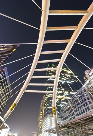 Public skywalk in bangkok business zone photo