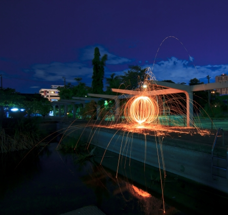 Fire spinning from steel wool . 30 seconds exposure time Stock Photo