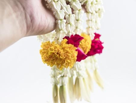 Thai Floral garland called Phuang Malai.A garland is a typical Thai flower arrangement .