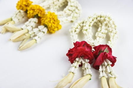 Thai Floral garland called Phuang Malai.A garland is a typical Thai flower arrangement .