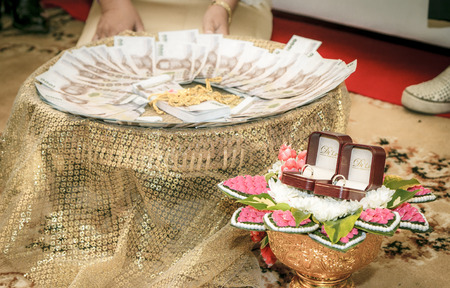 dowry: Thai culture men to pay a dowry sin sod in Thai or bride price prior to the marriage as a symbol of love.