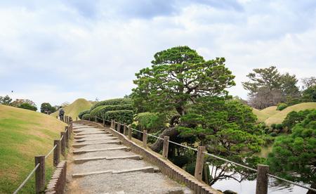 KUMAMOTO, JAPAN - NOVEMBER 7, 2015 : Beautiful scenery in Suizenji garden on November 7, 2015.Japanese style landscape garden in Kumamoto, Kyushu Island, Japan.
