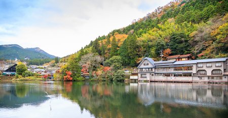 YUFUIN, FUKUOKA ,JAPAN - November 11, 2015: Beautiful Panorama Autumn in Kinrinko Lake on November 11, 2015 in  Yufuin, Fukuoka, Japan.Natural landmark of Yufuin besides Mount Yufu is Lake Kinrinko.
