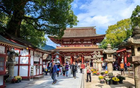 DAZAIFU, JAPAN - November 12,2015: Dazaifu Tenmangu is a shrine built over the grave of Michizane Sugawara venerated by the Japanese on Nov 12,2015.  It is one of the most visited shrine in Fukuoka