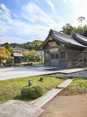 FUKUOKA, JAPAN - November 12, 2015: Old Japanese shrine on November 12, 2015 near Dazaifu Tenmangu, Fukuoka, Japan.