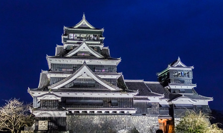 KUMAMOTO, JAPAN - November 7, 2015: Kumamoto castle in Kumamoto Prefecture, Japan on 7 November 2015. The castle keep is a concrete reconstruction built in 1960. It was a large and extremely well fortified castle and is the third largest castle in Japan.