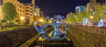 NAGASAKI, JAPAN- NOVEMBER 9, 2015:Cityscape at  Megane Spectacles Bridge on November 9, 2015 in Nagasaki, Japan. Stock Photo