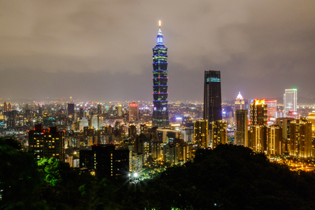 Taipei, Taiwan - OCTOBER 21, 2017: For the best view of Taipei City, at the top view point of Elephant Mountain. Editorial