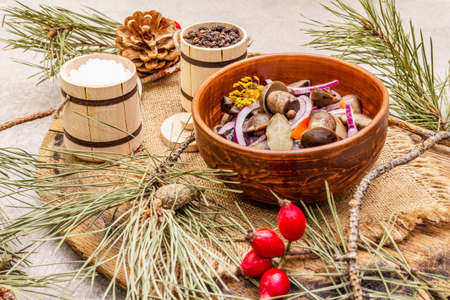 Pickled or fermented mushrooms. Traditional Christmas snack. New Year Festive cutlery. Evergreen pine, cone, spices, chopping board. Stone concrete background, close up