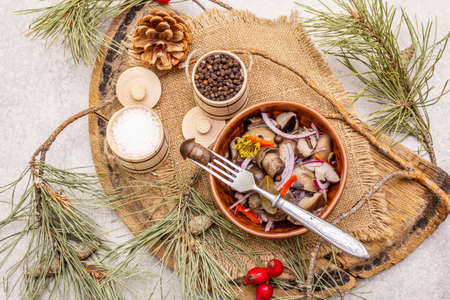 Pickled or fermented mushrooms. Traditional Christmas snack. New Year Festive cutlery. Evergreen pine, cone, spices, chopping board. Stone concrete background, top view