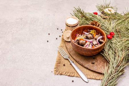 Pickled or fermented mushrooms. Traditional Christmas snack. New Year Festive cutlery. Evergreen pine, cone, spices, chopping board. Stone concrete background copy space 版權商用圖片