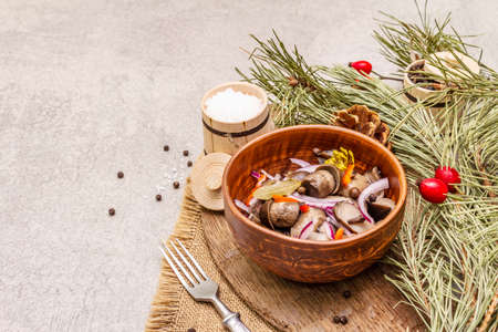 Pickled or fermented mushrooms. Traditional Christmas snack. New Year Festive cutlery. Evergreen pine, cone, spices, chopping board. Stone concrete background copy space, close up 版權商用圖片