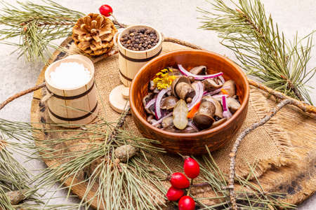 Pickled or fermented mushrooms. Traditional Christmas snack. New Year Festive cutlery. Evergreen pine, cone, spices, chopping board. Stone concrete background