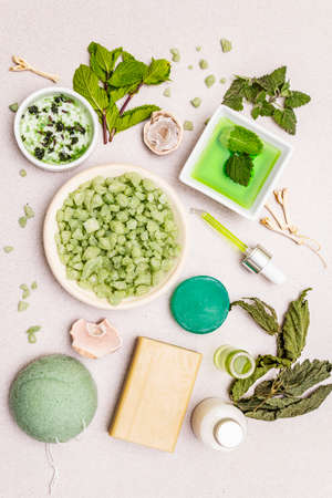Healthy self-care. Minimalistic organic lifestyle. Comfort and natural pharmacy. Sea salt, herbal oil, dry and fresh leaves. Bowls, stone concrete background, top view, close up