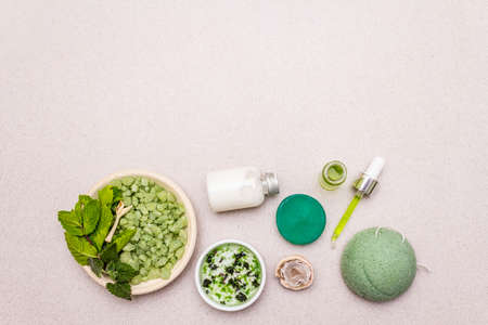 Healthy self-care. Minimalistic organic lifestyle. Comfort and natural pharmacy. Sea salt, herbal oil, dry and fresh leaves. Bowls, stone concrete background, copy space, top view Stock Photo