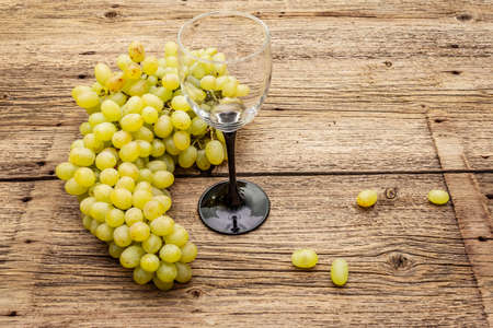 """Bunch of sweet green seedless grapes variety """"Kishmish"""". Ripe fruits autumn harvest. Healthy food concept. Old wooden boards background, wine glass, copy space Stockfoto"""