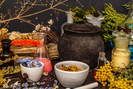 Halloween concept. Alchemy laboratory of the witch. Flasks, retorts, cauldron, mortars and pestle, powders, dried herbs, berries. Black stone background, close up