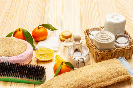 Zero waste home cleaning. Eco friendly products set, lifestyle concept. Natural ingredients, wooden boards background, copy space, close up