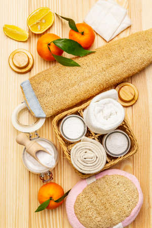 Zero waste home cleaning. Eco friendly products set, lifestyle concept. Natural ingredients, wooden boards background, close up, top view