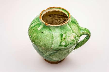 Vintage ceramic jug isolated on white background Stockfoto