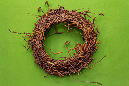 Wicker wreath of birch branches. Easter zero waste, DIY concept. Design element and decor. Green background, close up, top view Stock Photo