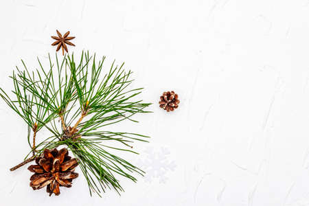 Christmas or New Year concept. Fresh pine branches and pine cones. White putty background, top view