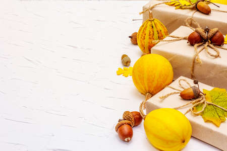 Zero waste gift concept, no plastic life style. Creative autumn decor with paper boxes, mini pumpkins, acorns and fall leaves. Thanksgiving or Halloween concept on white putty background, copy space Stockfoto