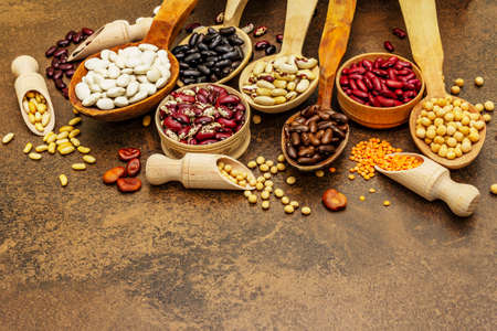 Set of various dry legumes in wooden spoons, indispensable protein for a healthy lifestyle. Assorted different types of beans. Stone concrete cooking background, copy space