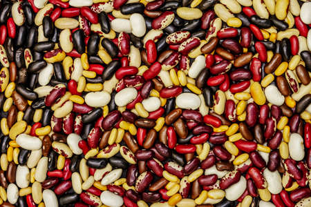 Assorted different types of beans. Set of various dry legumes as cooking food background, flat lay, macro