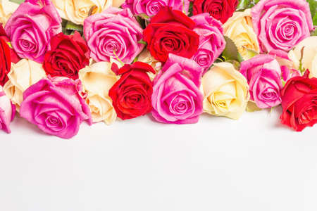 Assorted fresh multicolored roses isolated on white background. The festive concept for Weddings, Birthdays, March 8th, Mother's, or Valentine's Day. Greeting card, flat lay, mockup, template Stockfoto