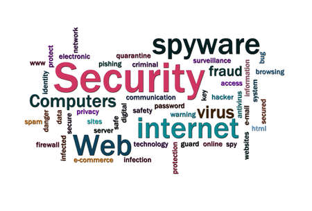 cyber attack: Cloud of security related words