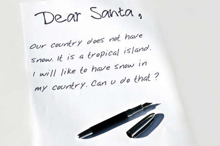 wish list: Dear santa letter and a pen